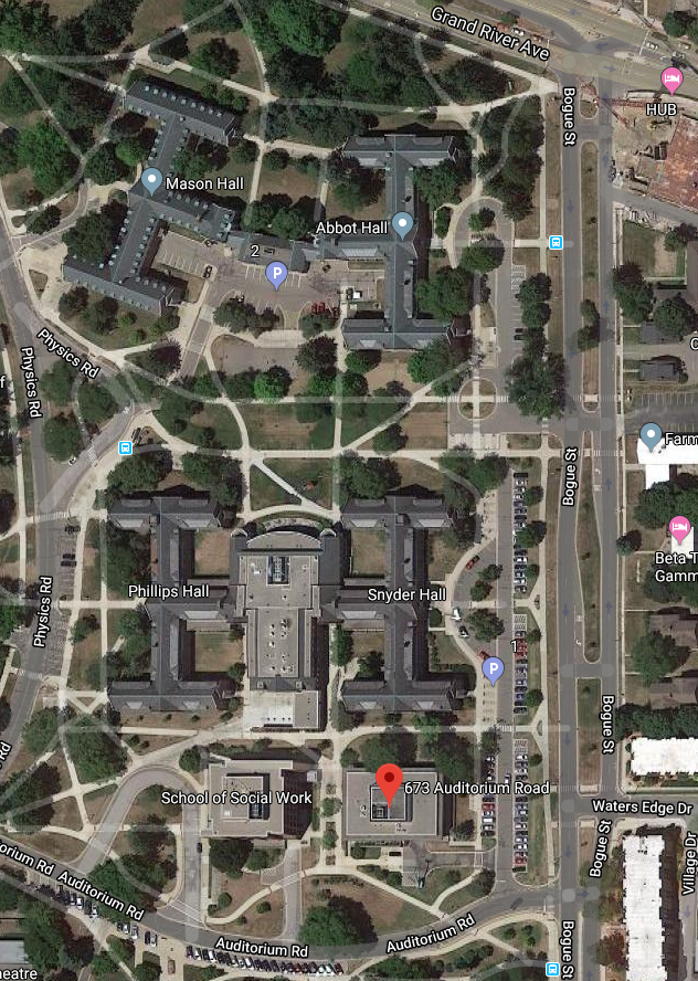 Map of Geography Building location on MSU campus